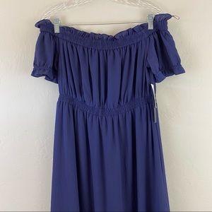 Cynthia Steffe Navy Blue Chiffon Ruffle Maxi Dress